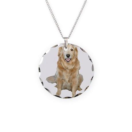 Golden Retreiver Dog Necklace Circle Charm