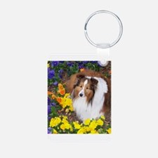 Sheltie Flowers Keychains