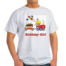 Birthday Train - Girl Ash Grey T-Shirt