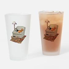 TV Dachshunds Drinking Glass