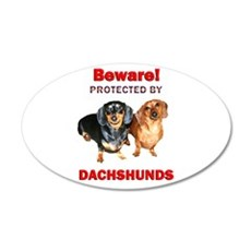 Protected By Dachshunds 22x14 Oval Wall Peel