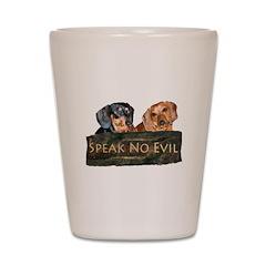 Speak No Evil Dachshund Dogs Shot Glass