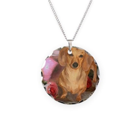 Vase Doxie Necklace Circle Charm