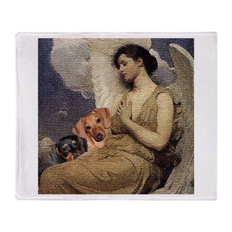 'Angel Dachshund Dogs' Throw Blanket