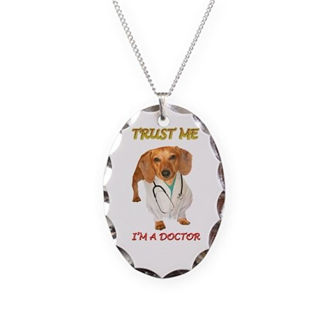 Doc Doxie Necklace Oval Charm