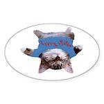 Yoga Kitty Cat Sticker (Oval 10 pk)