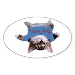 Yoga Kitty Cat Sticker (Oval 10 pk)