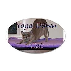 Yoga Down Cat 22x14 Oval Wall Peel