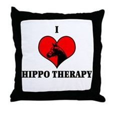 I Luv Hippo Therapy Throw Pillow