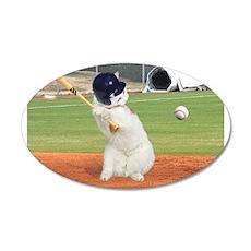 Baseball Cat 22x14 Oval Wall Peel