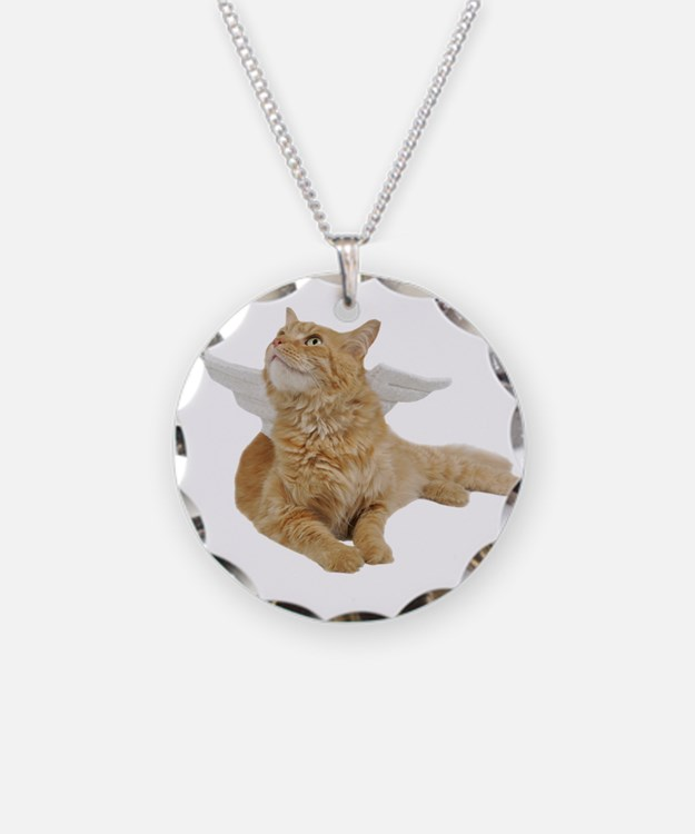 Orange Angel Cat Necklace