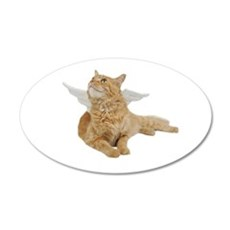 Orange Angel Cat 22x14 Oval Wall Peel