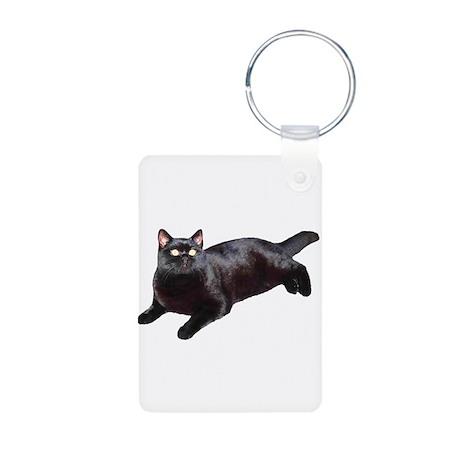 Black Cat Aluminum Photo Keychain