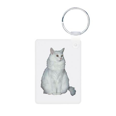 White Long Hair Cat Aluminum Photo Keychain