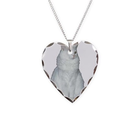White Long Hair Cat Necklace Heart Charm