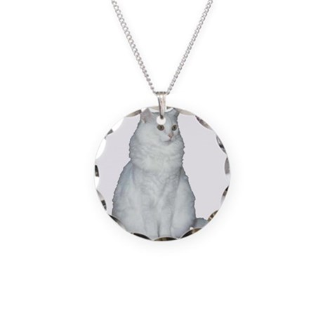 White Long Hair Cat Necklace Circle Charm