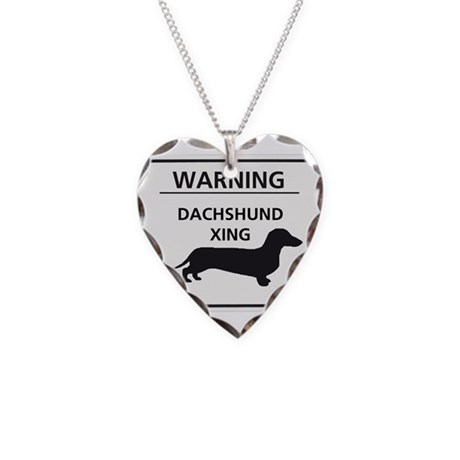 Dachshund Xing Necklace Heart Charm