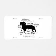 Dachshund Chart Aluminum License Plate
