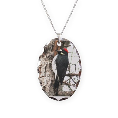 California Redheaded Woodpeak Necklace Oval Charm