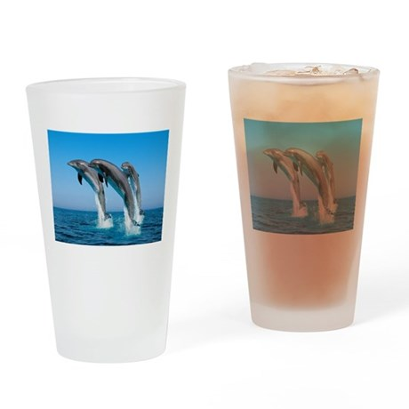 Three Dolphins Drinking Glass