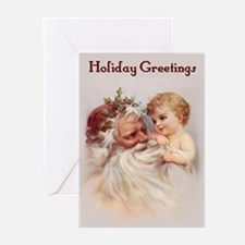 Santa and Cherub Greeting Cards (Pk of 10)
