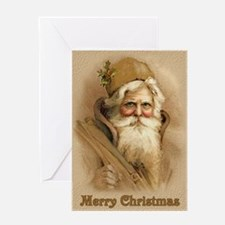 Old World Santa - Tan Greeting Card