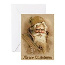 Old World Santa - Tan Greeting Cards (Pk of 10)