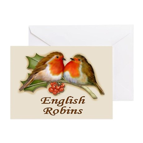 English Robins & Holly Greeting Card