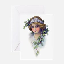 Winter Holly Girl Greeting Card