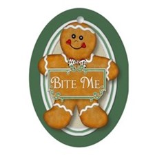 Gingerbread Man - Bite Me Oval Ornament