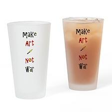 Make Art Not War Drinking Glass