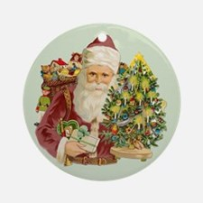 Santa and Small Tree Ornament (Round)