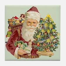 Santa and Small Tree Tile Coaster