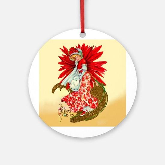 Poinsettia Girl Ornament (Round)