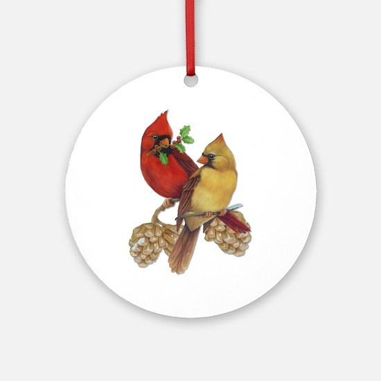 Winter Cardinals Ornament (Round)