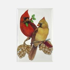 Winter Cardinals Rectangle Magnet