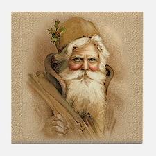 Old World Santa - Tan Tile Coaster