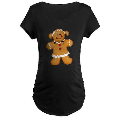 Gingerbread Woman Maternity Dark T-Shirt