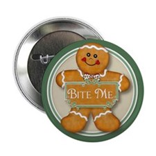 """Gingerbread Man - Bite Me 2.25"""" Button (10 pack)"""