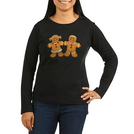 Gingerbread Man & Woman Women's Long Sleeve Dark T