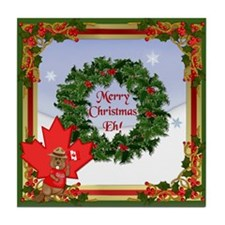 Canadian Christmas Tile Coaster