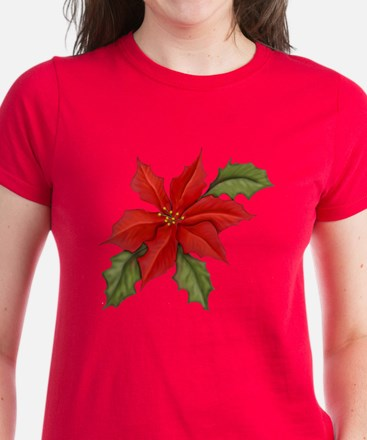 Poinsettia Christmas Women's Dark T-Shirt