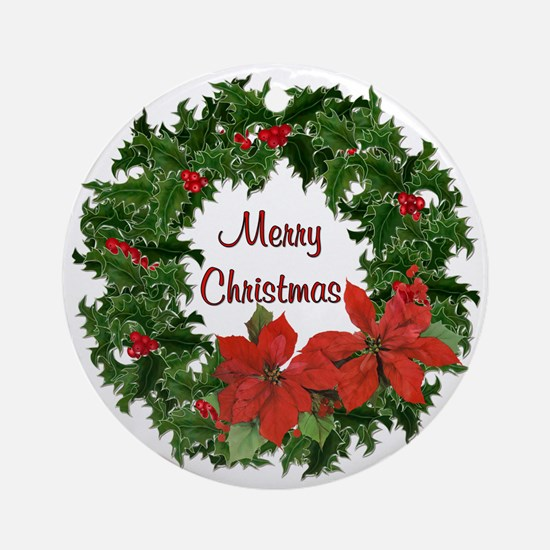 Christmas Holly Wreath Ornament (Round)