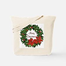 Christmas Holly Wreath Tote Bag
