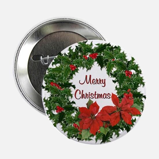 "Christmas Holly Wreath 2.25"" Button"