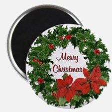 Christmas Holly Wreath Magnet