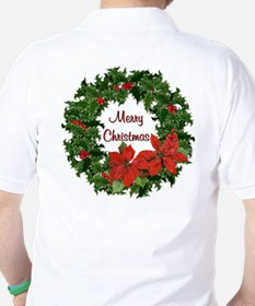 Christmas Holly Wreath Golf Shirt
