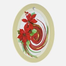 Christmas Poinsettia Swirl Ornament (Oval)