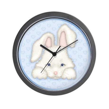 Bunny Love Blue Wall Clock