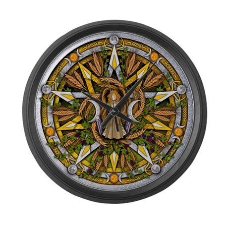 Lammas/Lughnasadh Pentacle Large Wall Clock